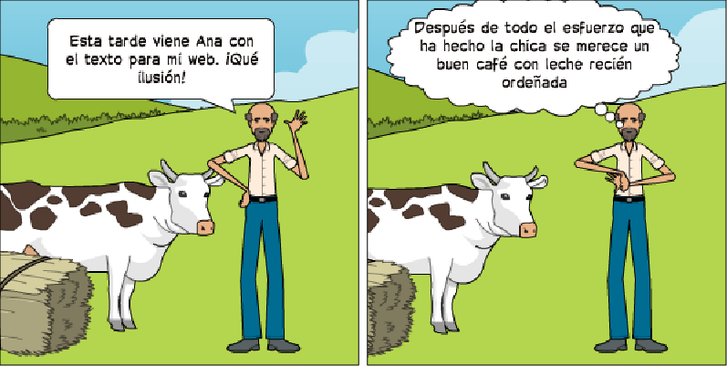 caso práctico de copywriting dibujo de vacas